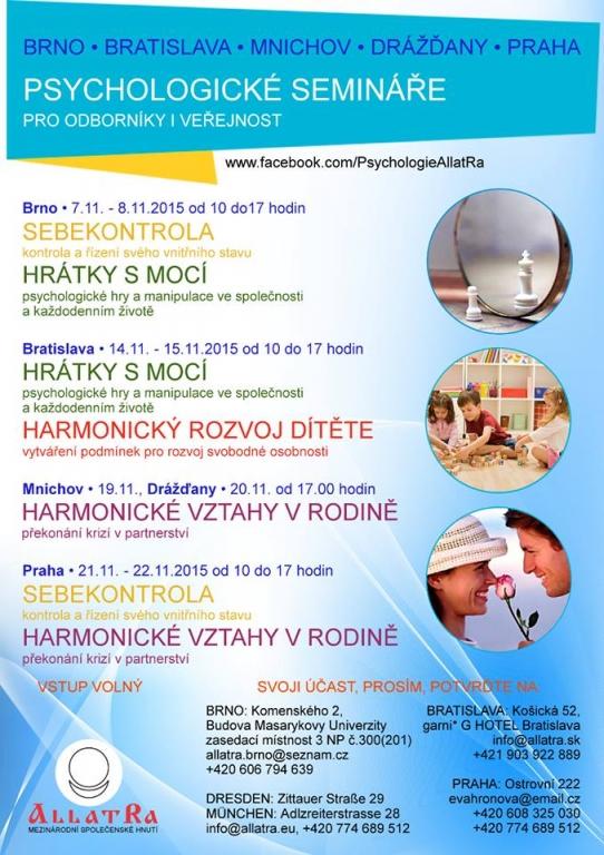 Psychologické semináře pro odborníky a veřejnost
